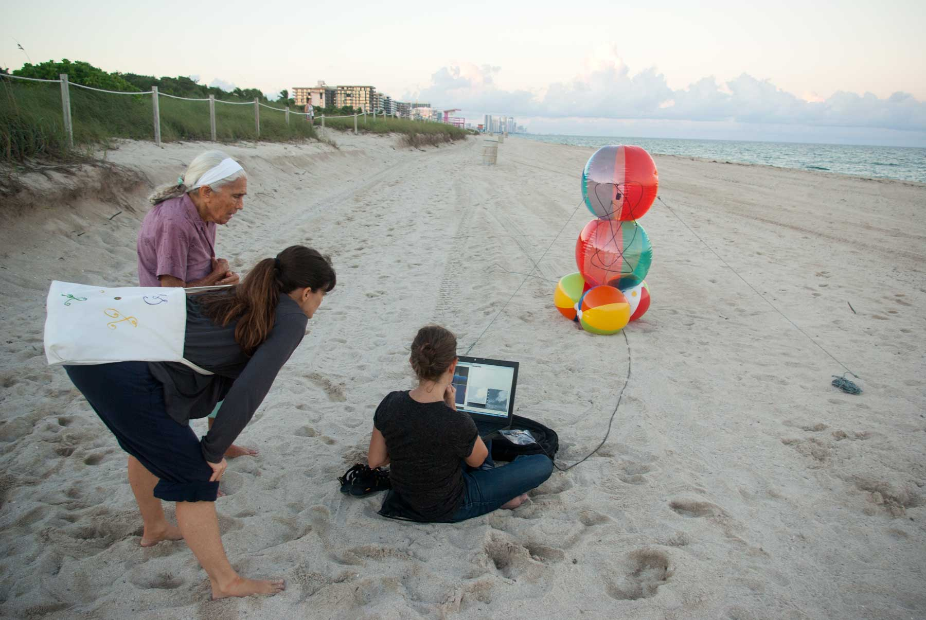 Beach ball on beach Pink If Beach Visitors Were Passing By At The Same Time As Satellite They Could View Images Of The Earth Being Received Using The Beachball Antenna Pinterest Beachball Antennas Heidi Neilson